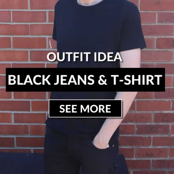 Black jeans and black T-shirt outfit