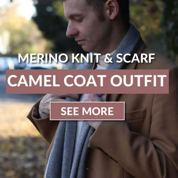 Camel overcoat, merino knit and scarf outfit