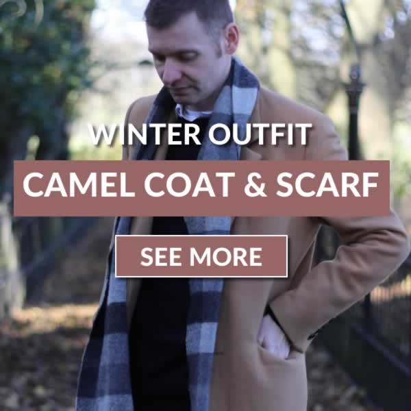 Camel overcoat and scarf layered outfit