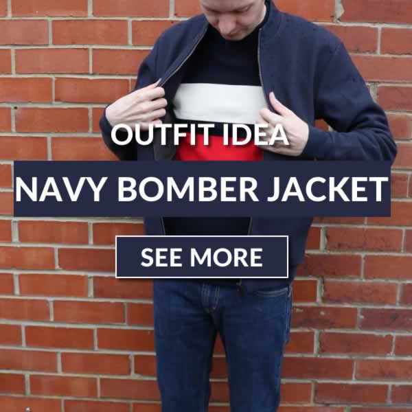 Navy bomber jacket outfit