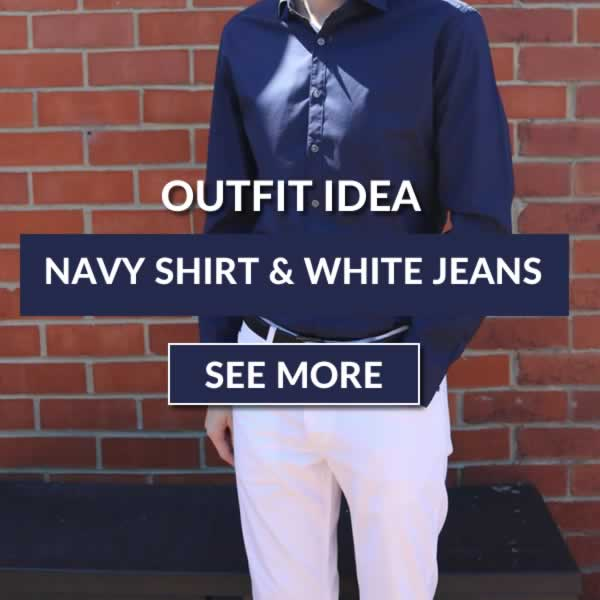 Navy shirt and white jeans