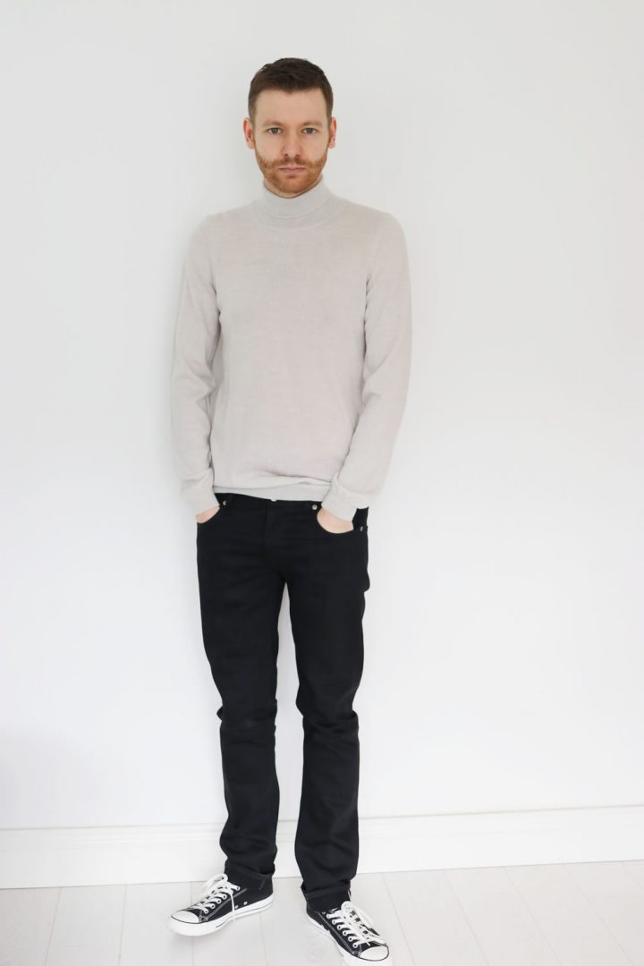 Black Jeans With Roll Neck Knit