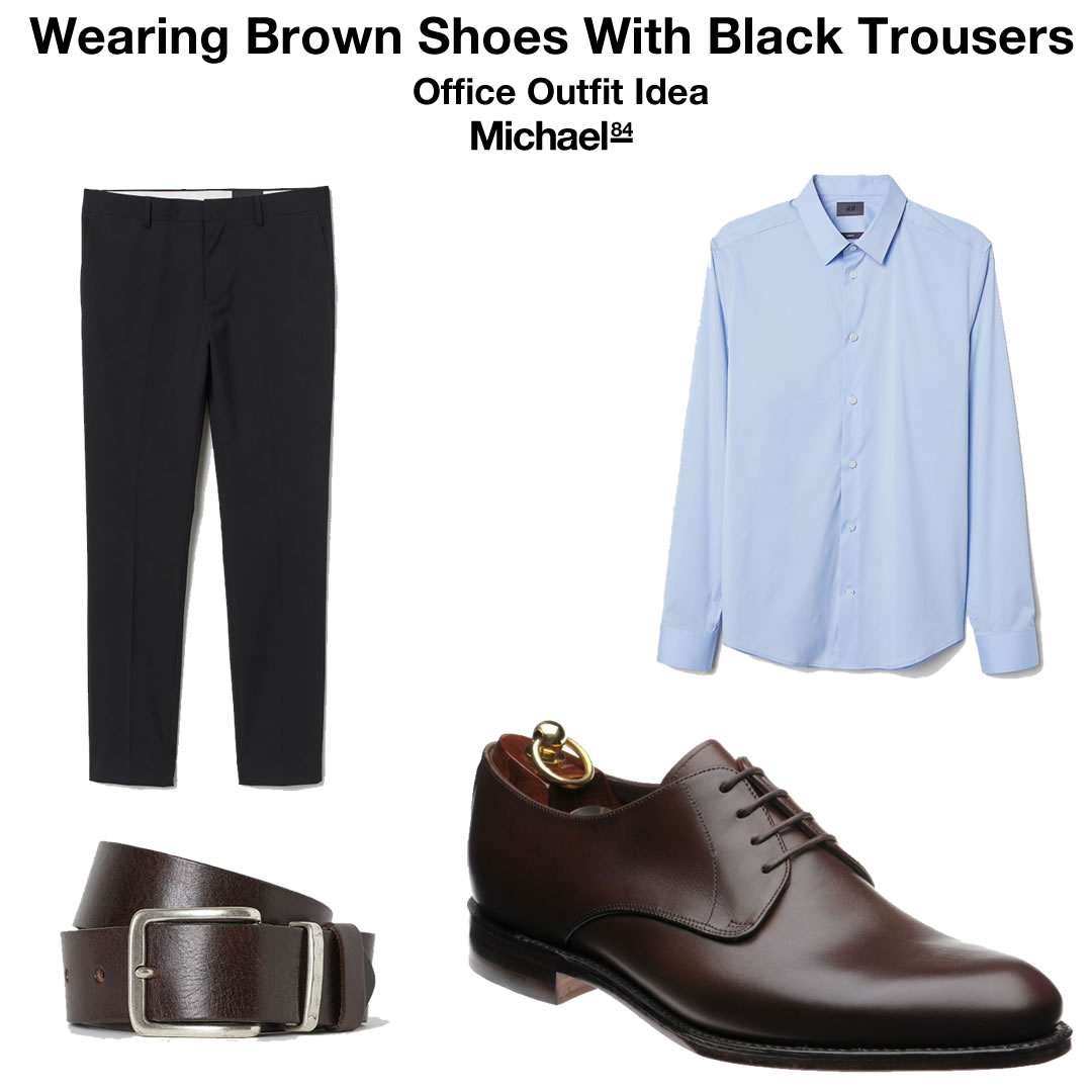 black trousers and brown boots
