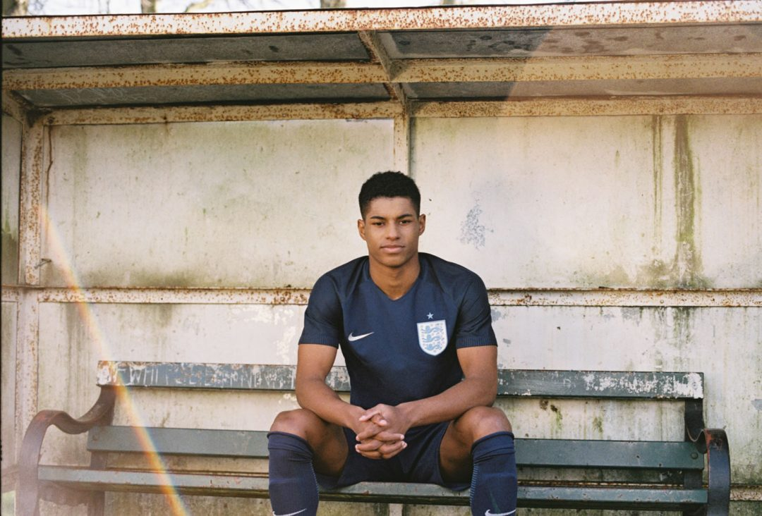 Marcus Rashford shows off the 2017 England away kit
