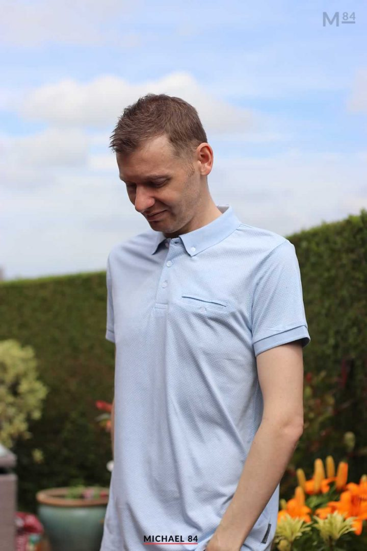 Wearing My French Connection Micro Dot Polo Shirt In Sky Blue