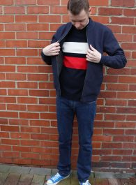 Street style outfit featuring jaeger bomber jacket in navy