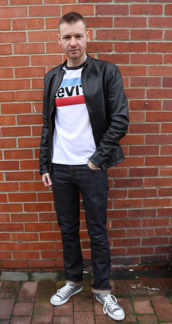 Today's Outfit - Levi's T Shirt, Nudie Jeans, Converse Trainers, Selected Homme Leather Jacket
