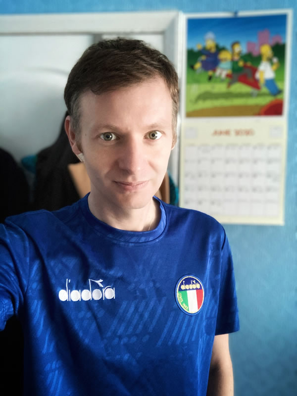 Wearing My Retro Italy Diadora Football Shirt