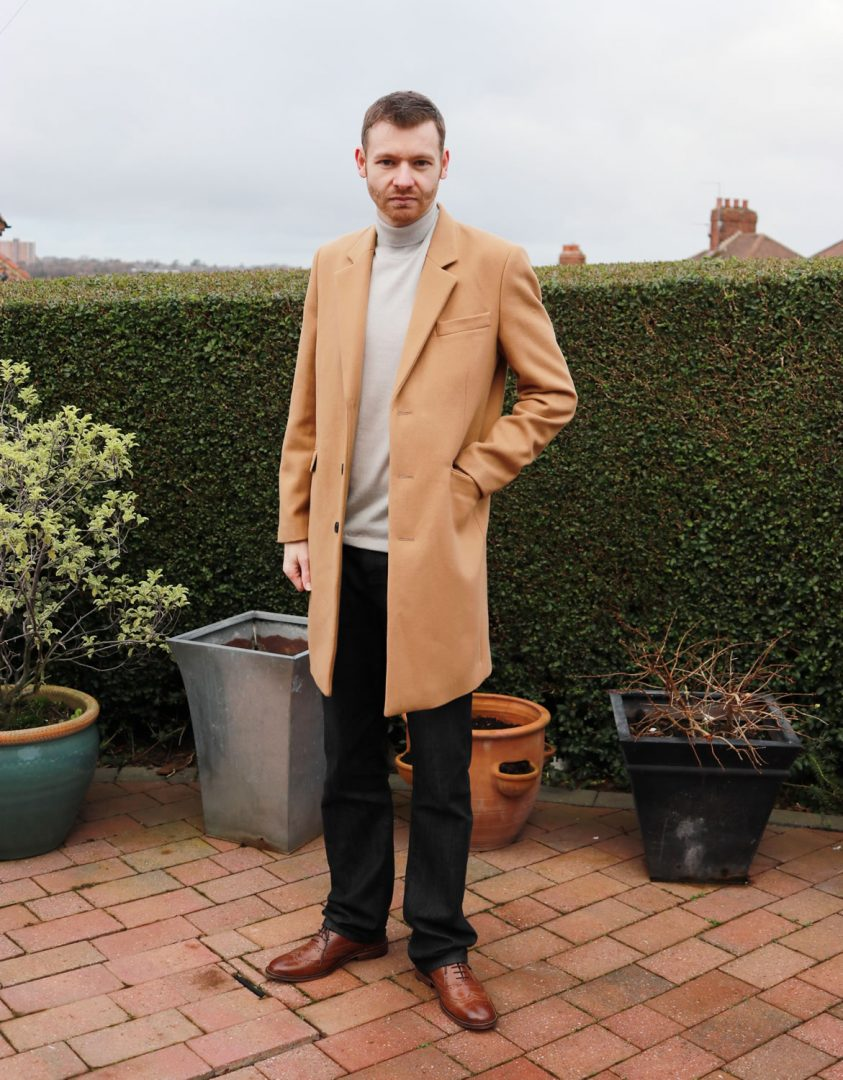 Asos coat, asos roll neck, armani jeans, kurt geiger shoes