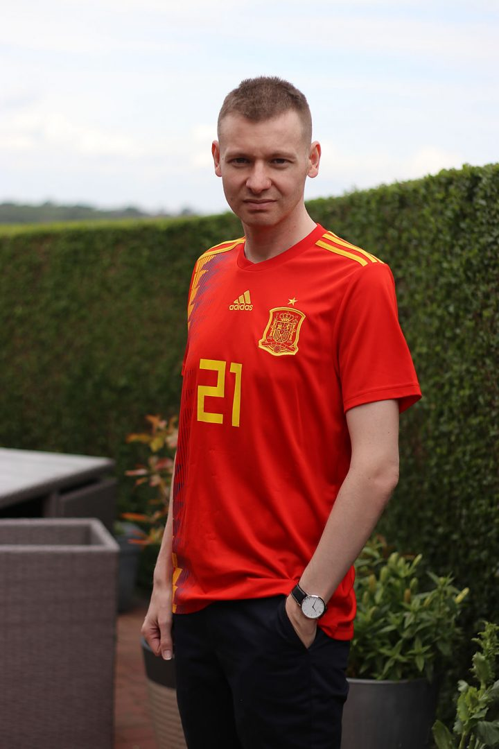 Wearing The Spain Home Shirt Ready For The Football Tonight