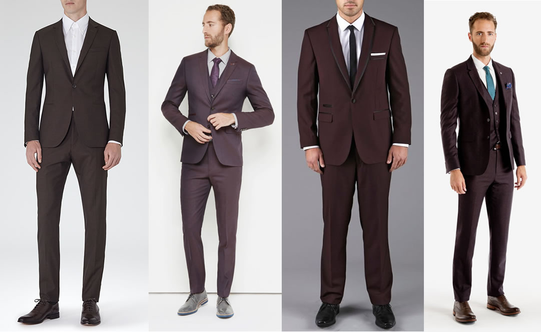 Mens christmas party outfit suits wine