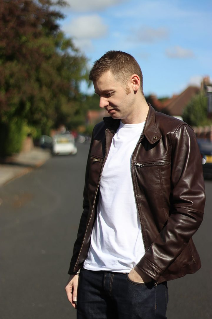 White T Shirt With A Leather Jacket