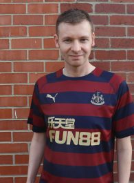 Wearing my Newcastle Away Shirt 2018-19