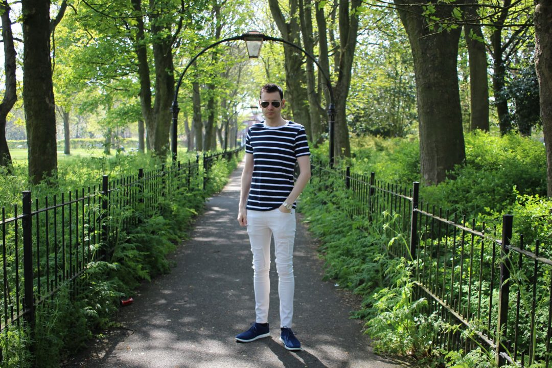 ASOS Ecru Jeans With Striped Tee For Summer