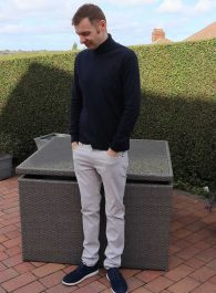 Navy Uniqlo Roll Neck T Shirt - My Outfit