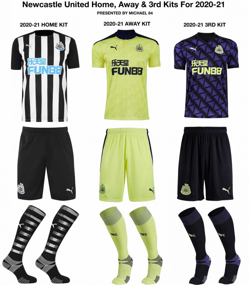 Newcastle Home, Away 3rd Kits 2020-21