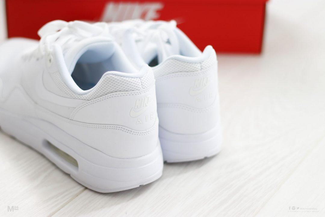 close up of the nike all white air max 1 ultras