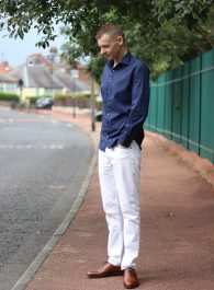 Outfit Of The Day - Navy Shirt, White Jeans, Brown Shoes