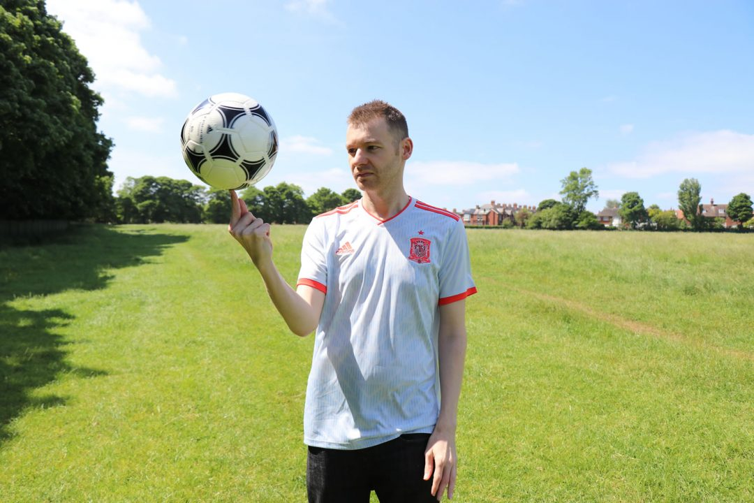 Doing tricks with the Adidas ball in my Spain 2018 away top