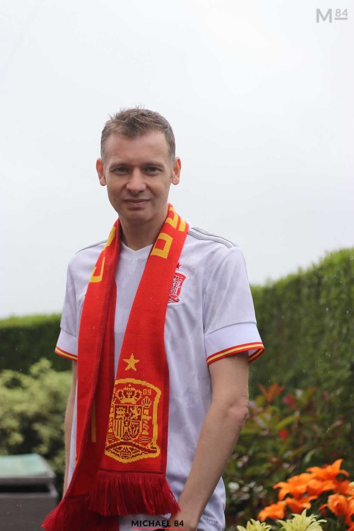 Wearing The Spain Away Shirt For Spain vs Italy In The Euro 2020 Semi Finals