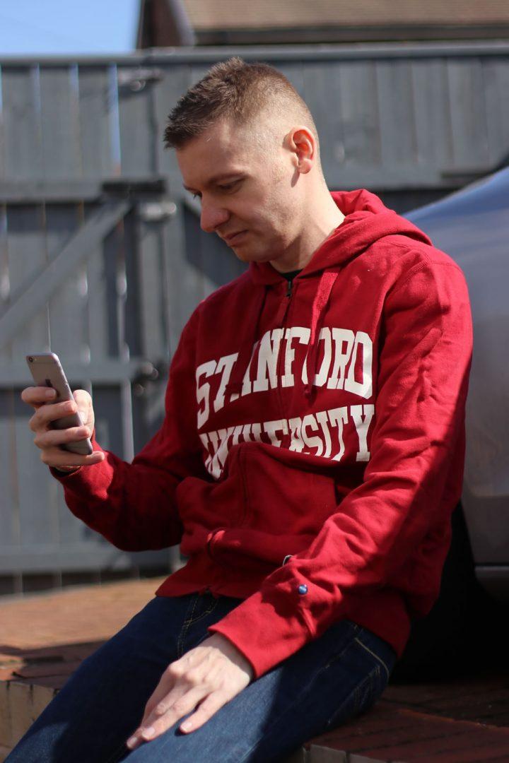 Wearing A Stanford University Hoodie
