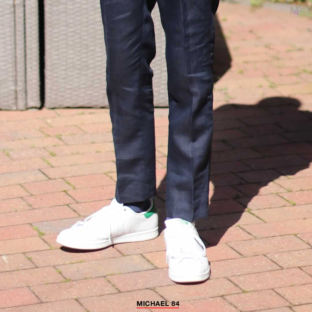 Pairing Stan Smith White Trainers With A Navy Blue Suit