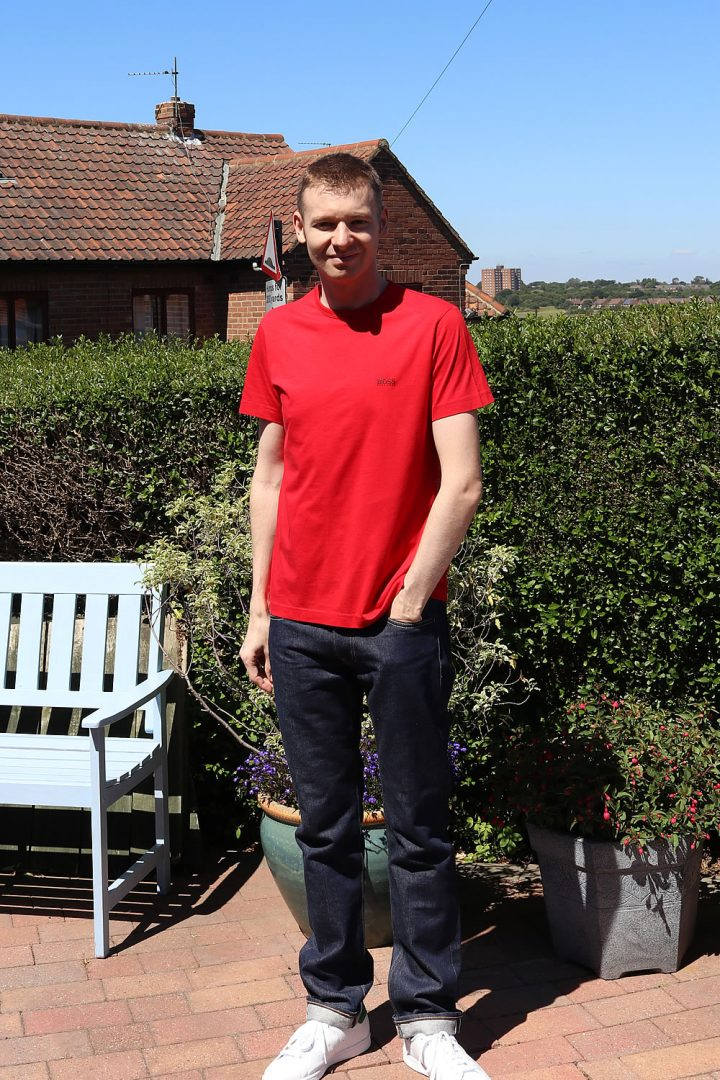 Red T-Shirt Outfit: Indigo Jeans and Adidas Stan Smith Trainers