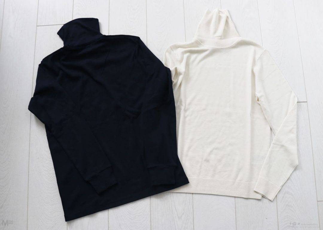 Uniqlo roll neck merino jumper vs cotton t-shirt
