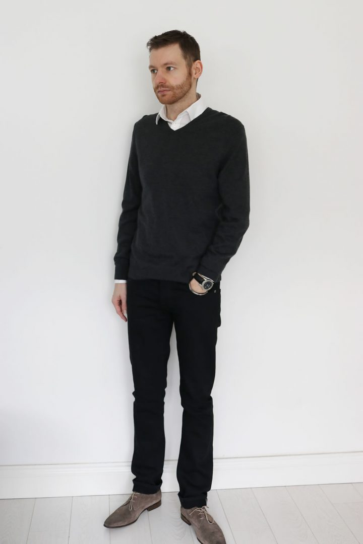 smart casual - wearing a white shirt with grey jumper